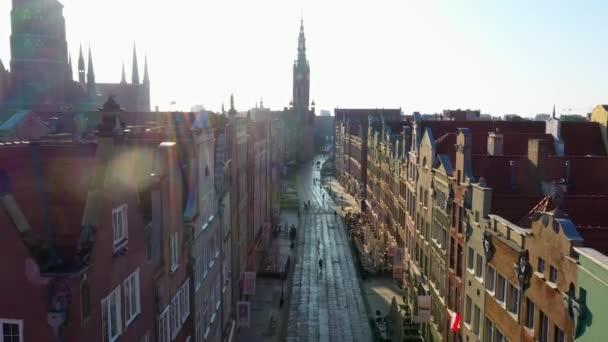 Luftaufnahme von Danzig, Altstadt, starre miasto, stara motlawa, strefa historyczna, wolne miasto, polen