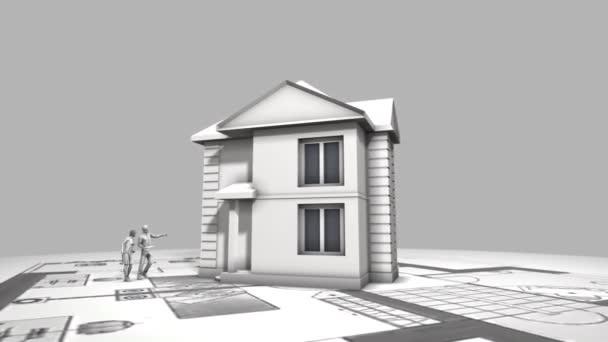 Stavím dům se střechou z boku. Časová prodleva 3d animace stavby domu - od výkresů až po instalaci střechy s pantovými střešními taškami. Horní pohled