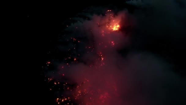 Natural Bush Fire burning at night. Fire flame in the dark night Aerial grain shot