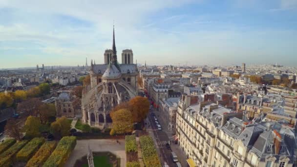 Aerial view of Paris with Notre Dame cathedral