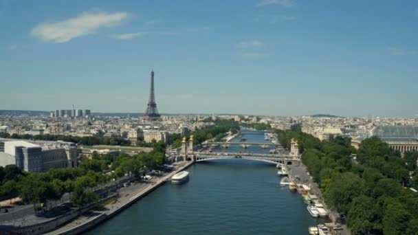 Aerial view of Paris , France with Seine river