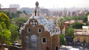 BARCELONA, SPAIN - CIRCA May 2017: A shot in Parc Guell, one of the city's major tourist attractions, real time, Barcelona, Spain.