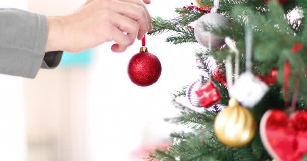 rukou člověka umístění červený míček do vánočního stromu