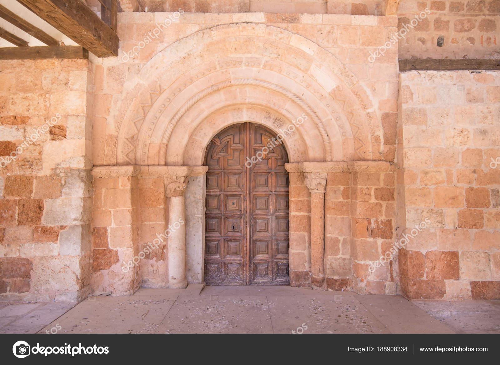 Exterior Door Of Church Saint Michael In Ayllon Stock Photo