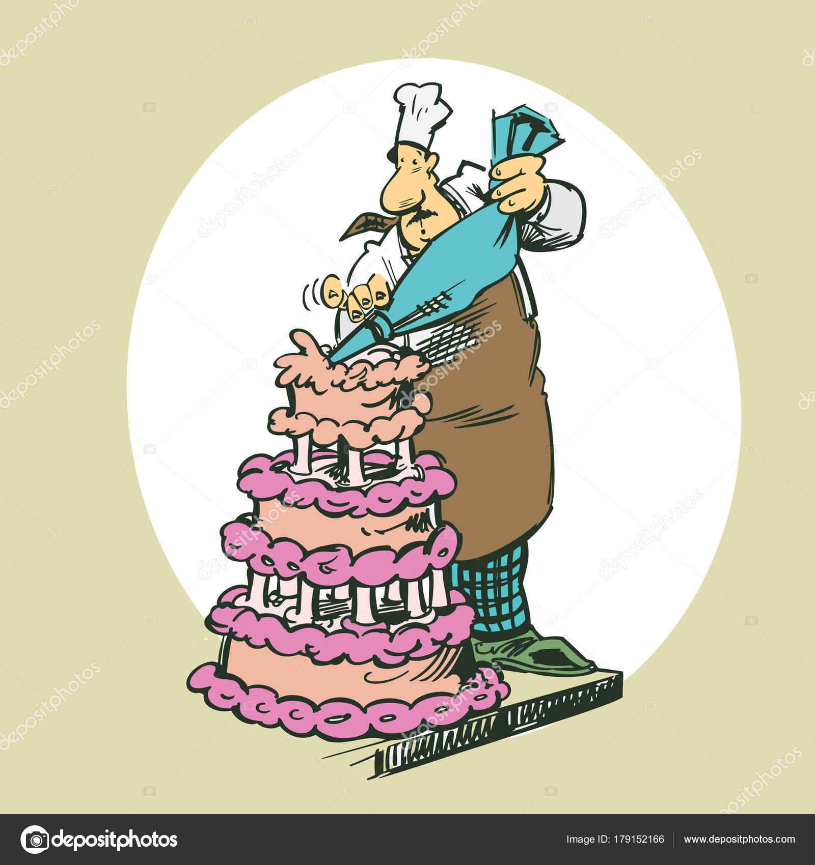 Backer Machen Kuchen Cliparts Cartoon Illustration Vektor