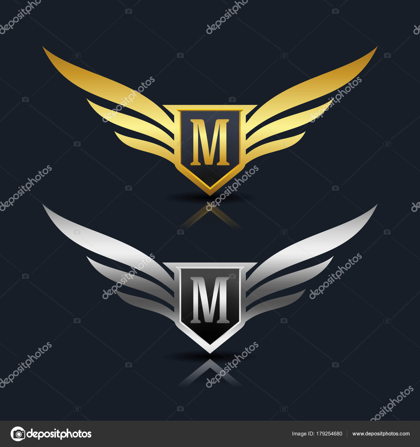 wings shield letter m logo � stock vector 169 oriu007 179254680