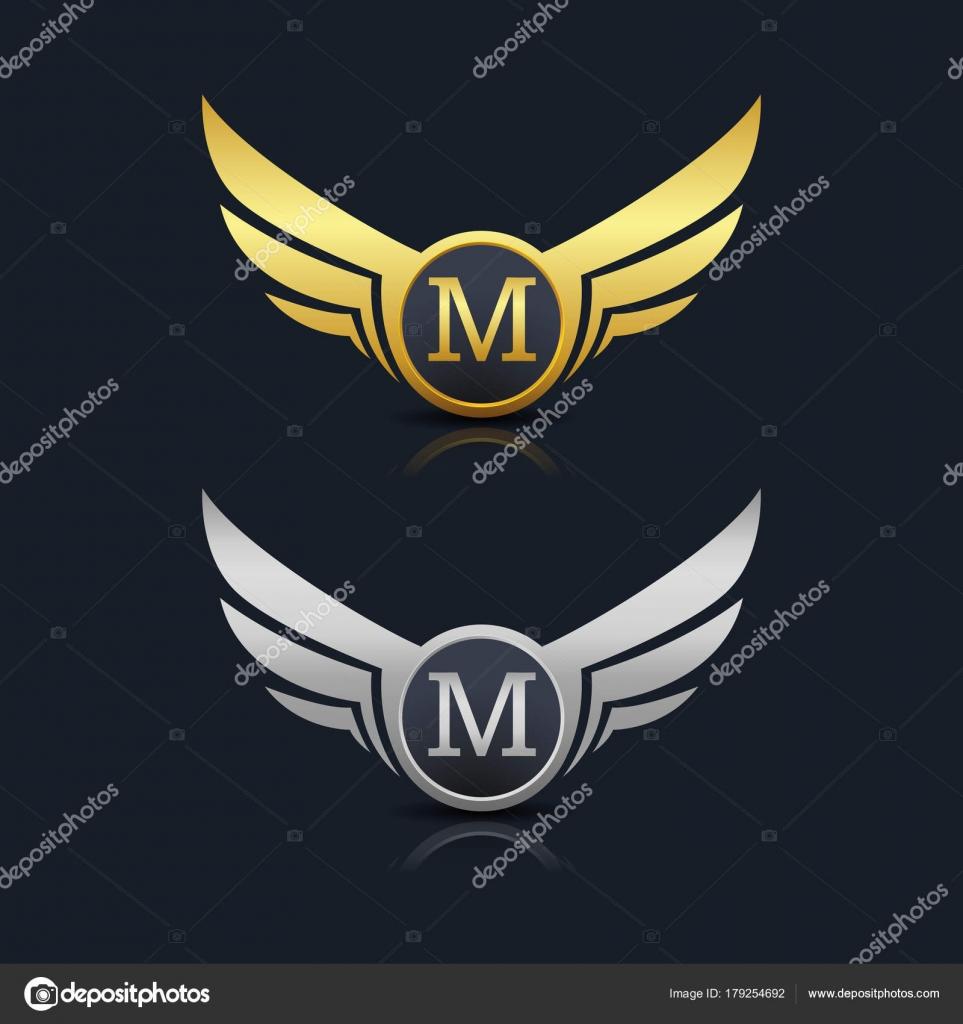 wings shield letter m logo � stock vector 169 oriu007 179254692