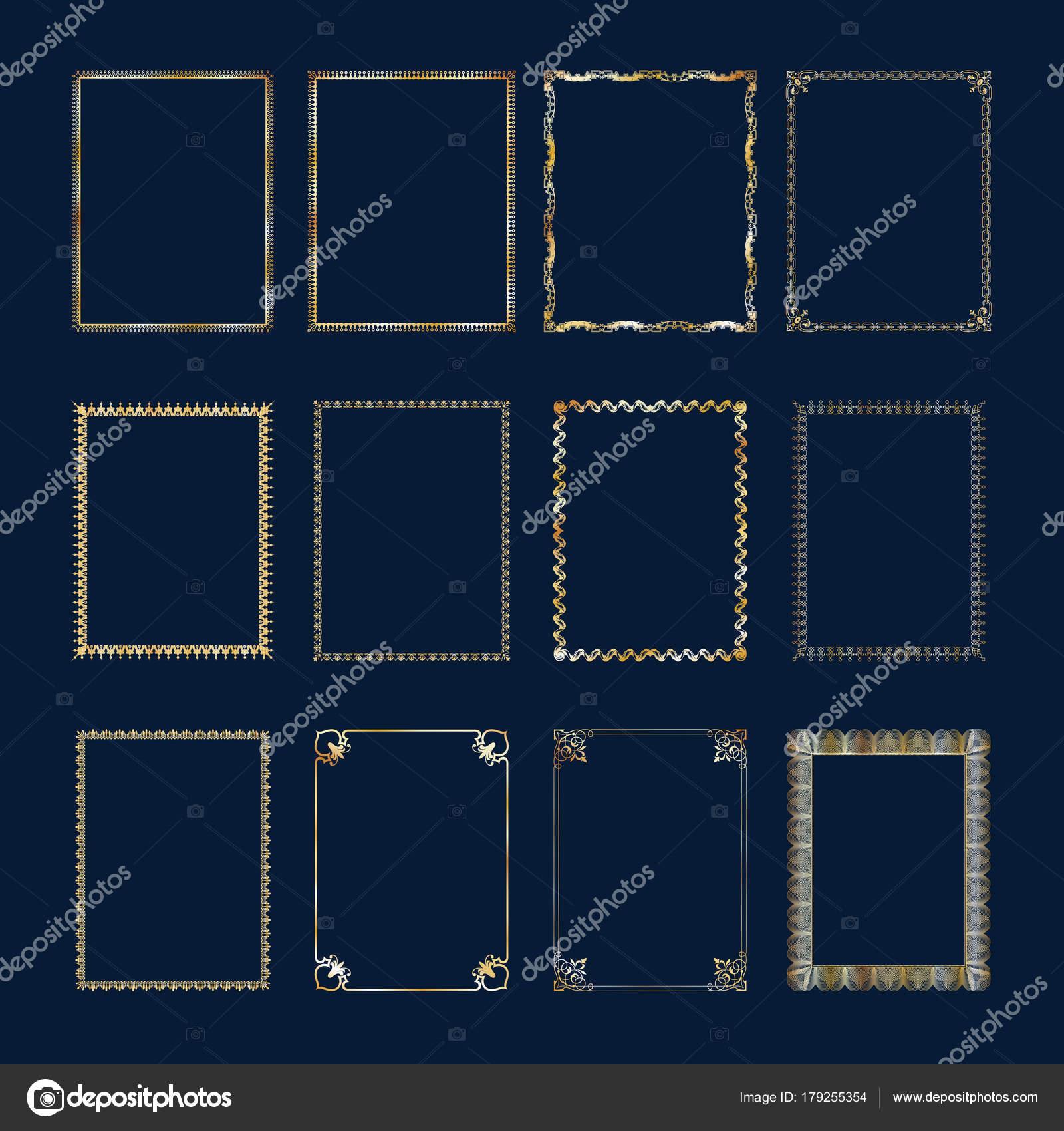 Satz von Luxus goldener Rahmen und Grenzen gesetzt — Stockvektor ...