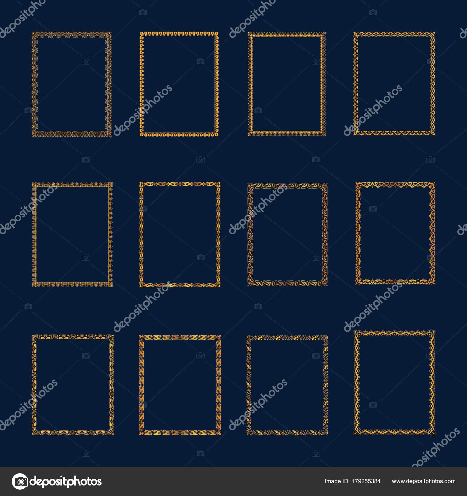 Conjunto de conjunto de Marcos y bordes de lujo oro — Vector de ...