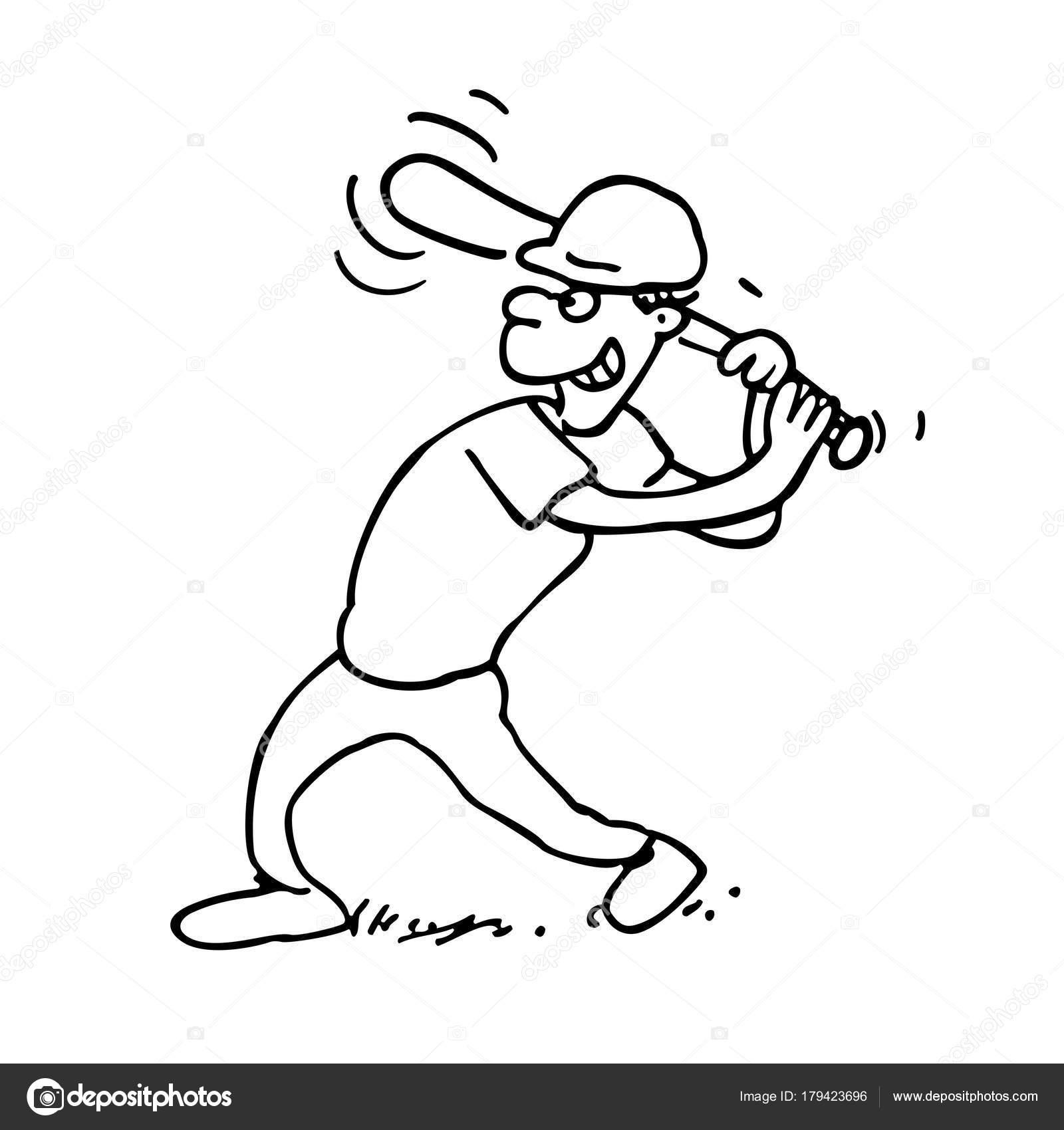 Baseball-Spieler umrissen Cartoon auf weißem Hintergrund ...