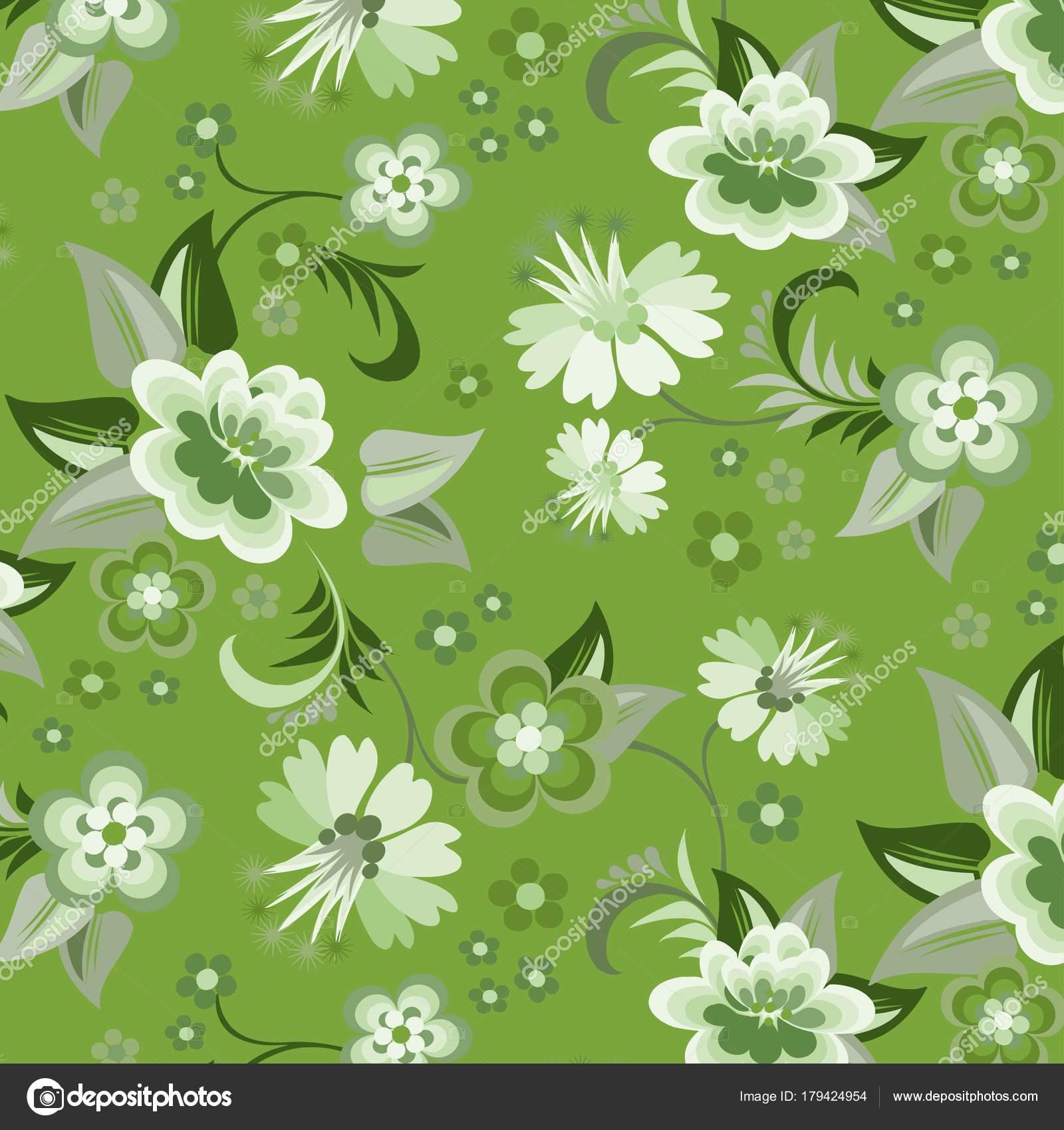 Seamless Green Floral Wallpaper Stock Vector C Oriu007 179424954