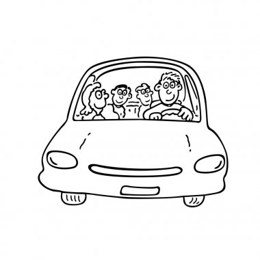 the family in the car Illustration