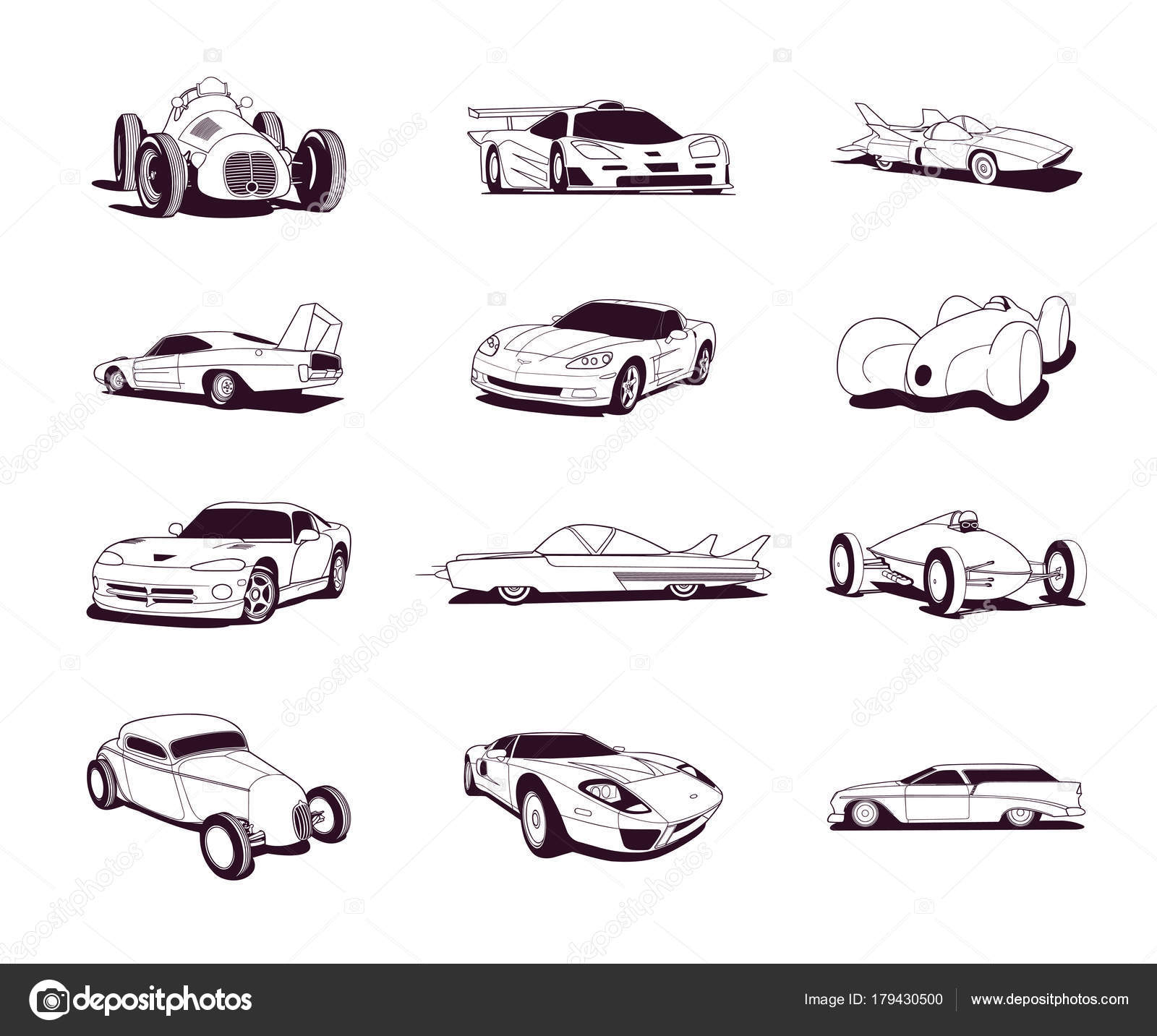 Sport alt schnelle Autos Clipart Cartoon-Sammlung — Stockvektor ...