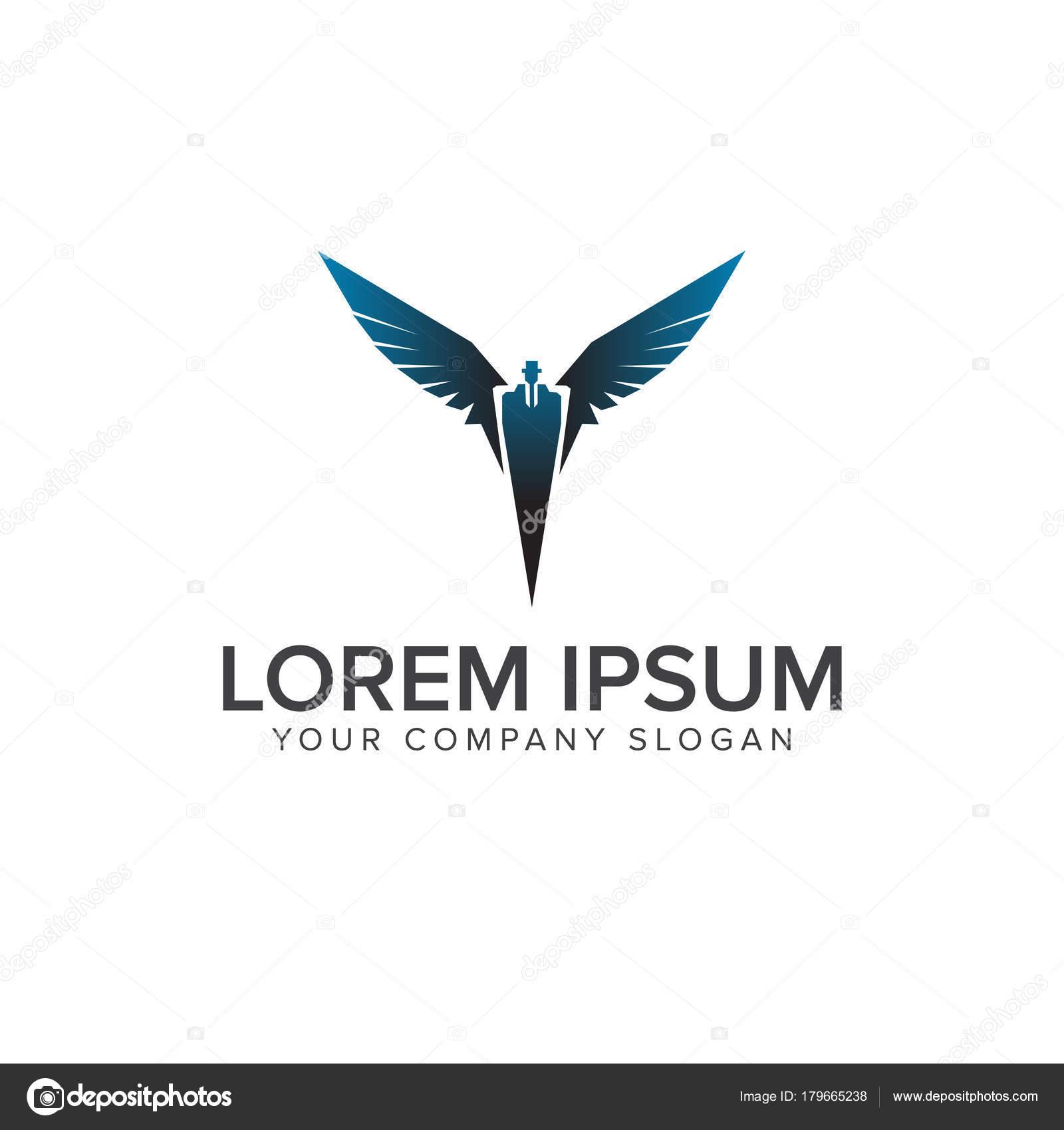 super hero business man flying logo design template stock vector