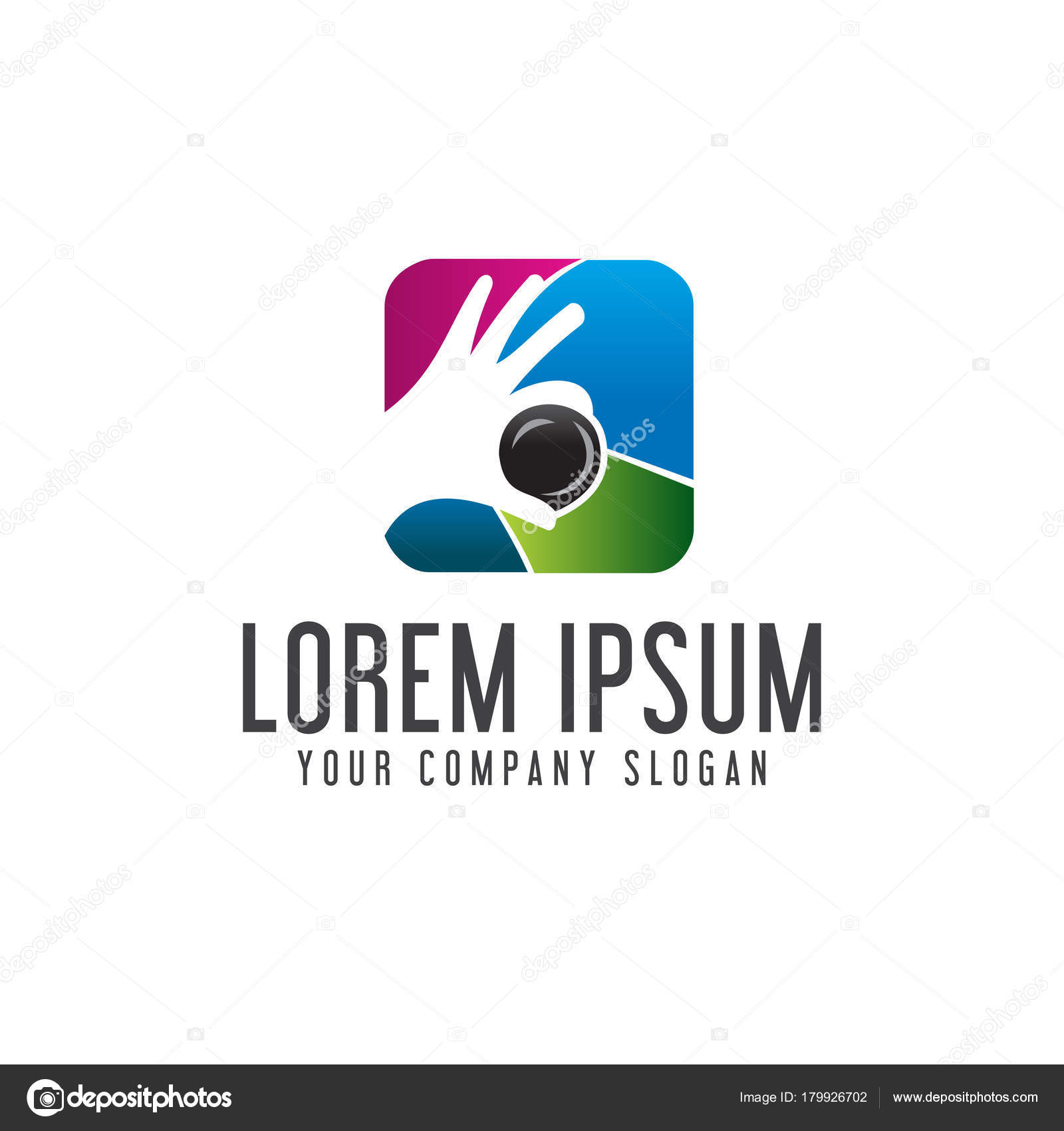 Fotografie-Hand-Objektiv-Logo. Medien-Logo-Design-Konzept-Vorlage ...