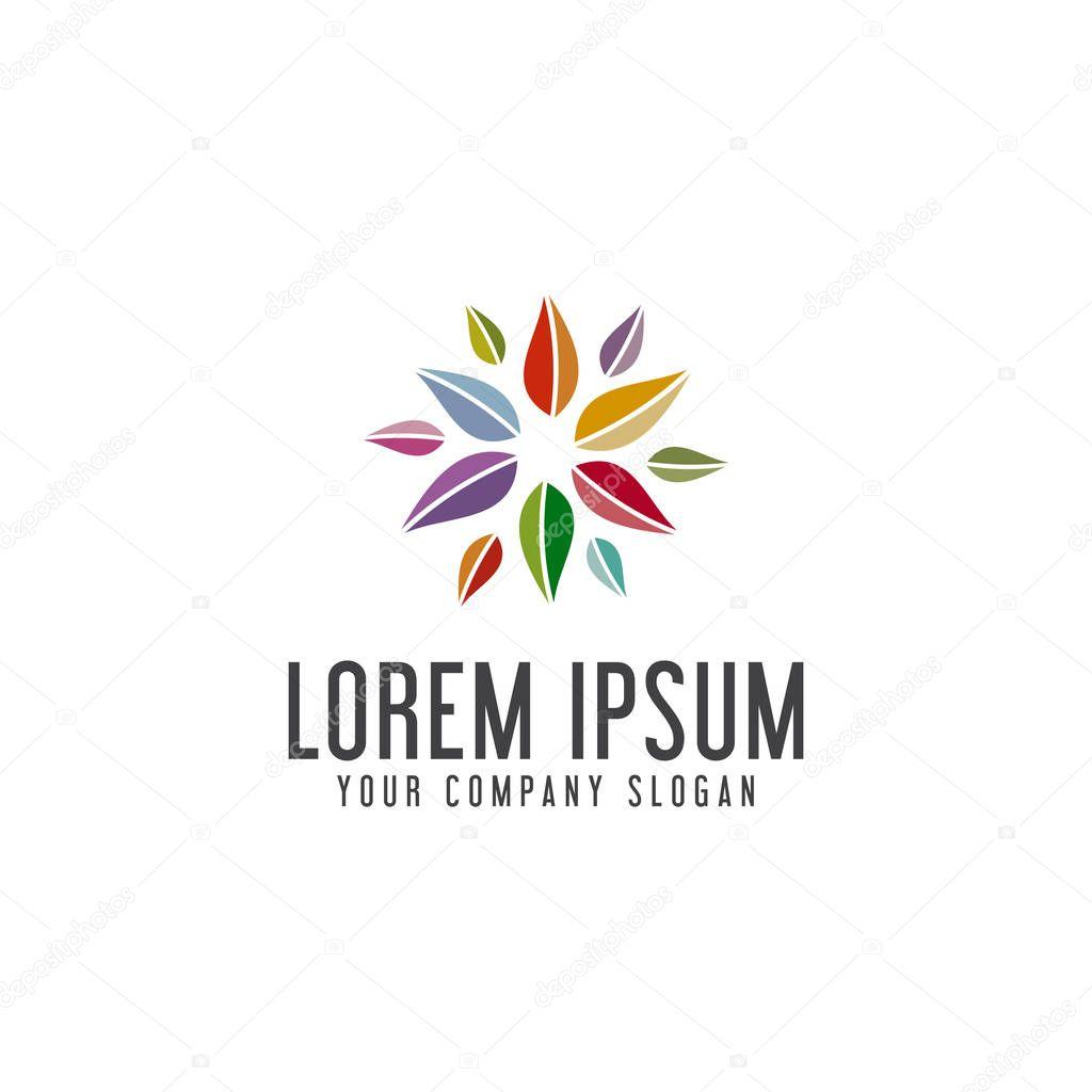 multicolor leaf logo design concept template