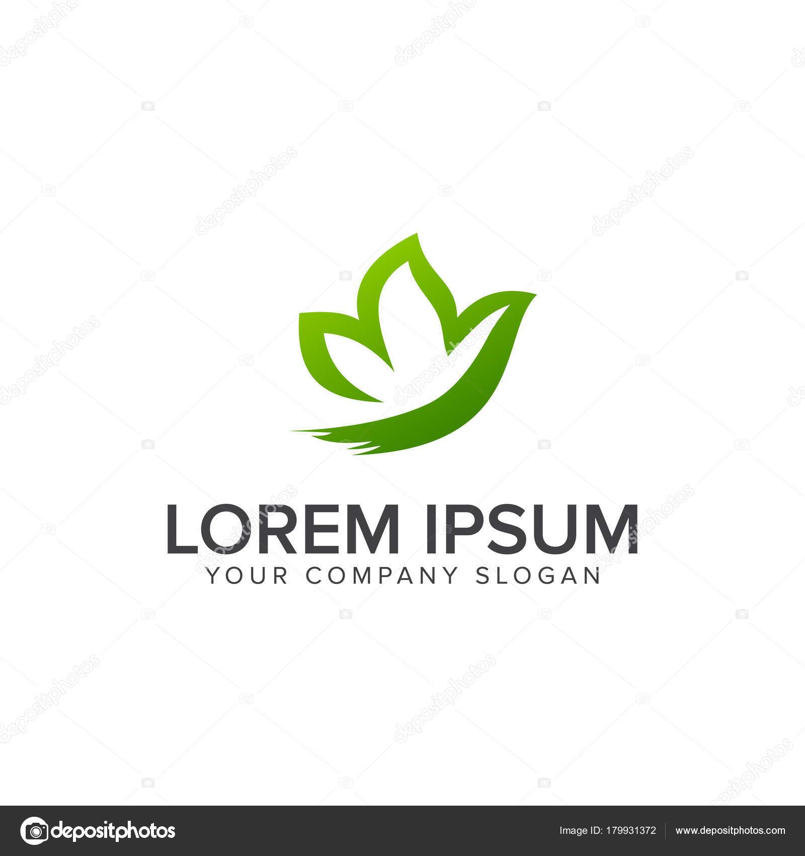 Plantilla de concepto de diseño de logo de hoja jardín mariposa ...