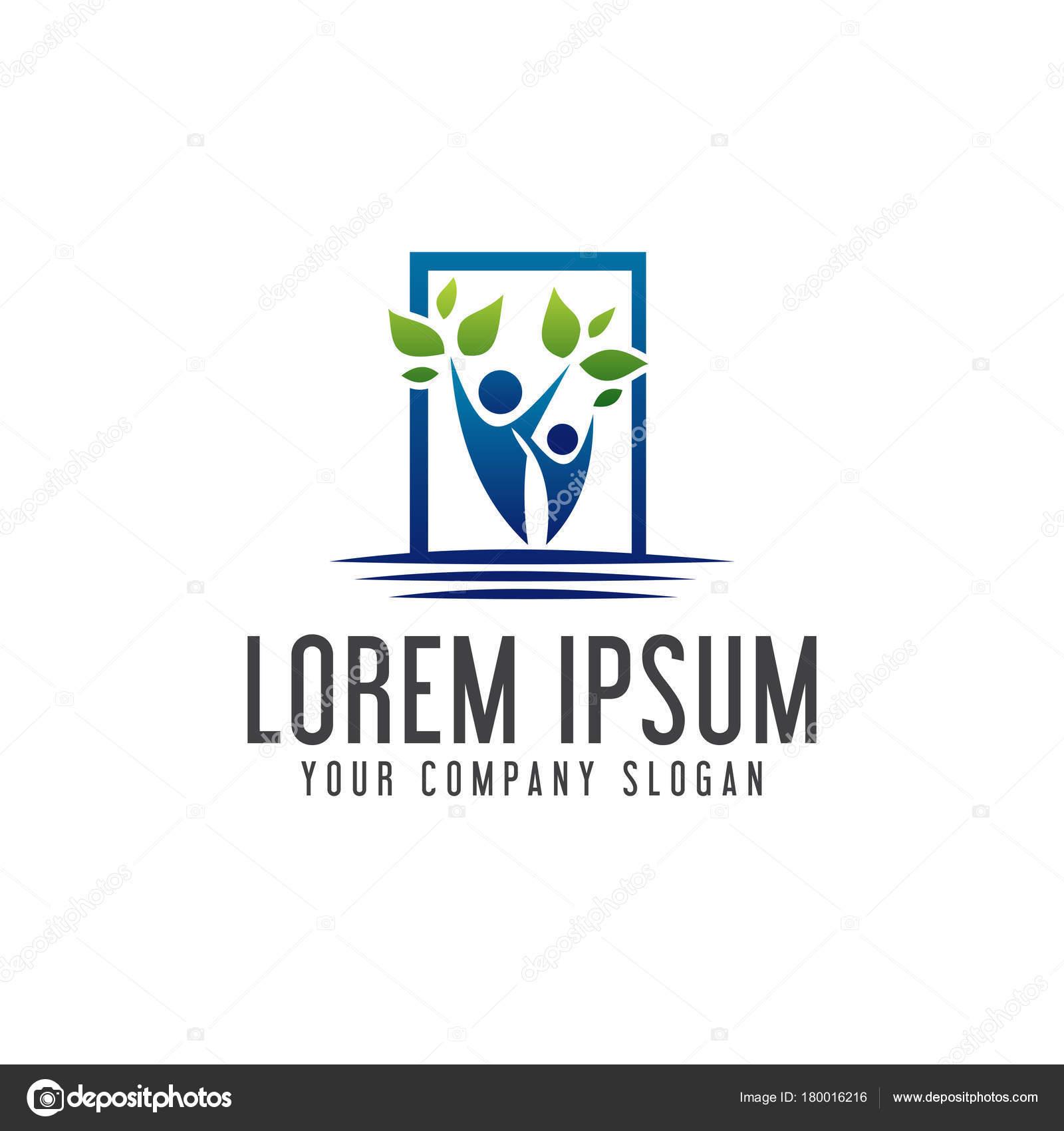 plantilla de concepto de diseño de logotipo paisajismo de personas ...
