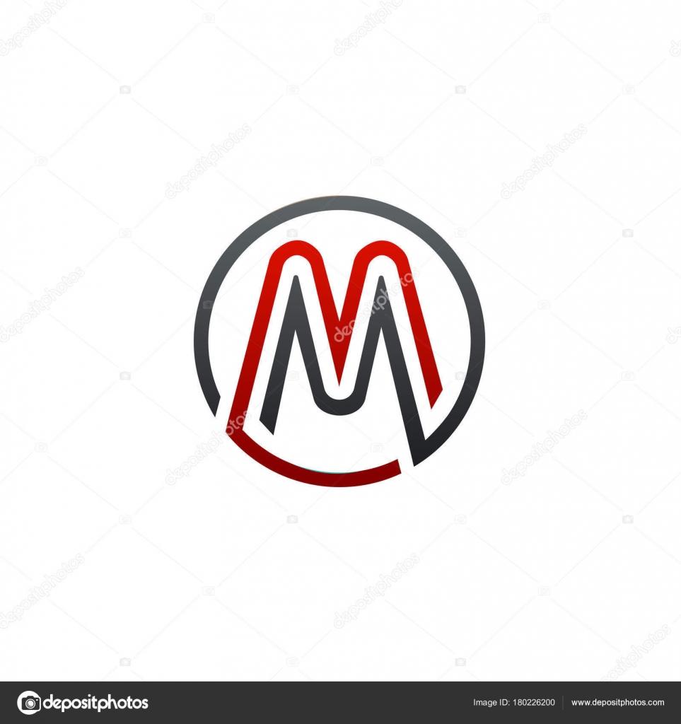 letter m circular logo design concept template stock vector