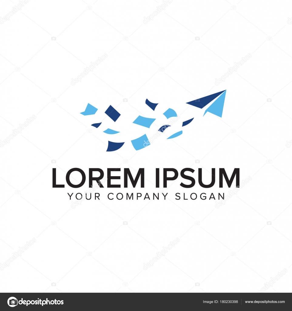 Papier Flugzeug fliegen Logo-Design-Konzept — Stockvektor © oriu007 ...