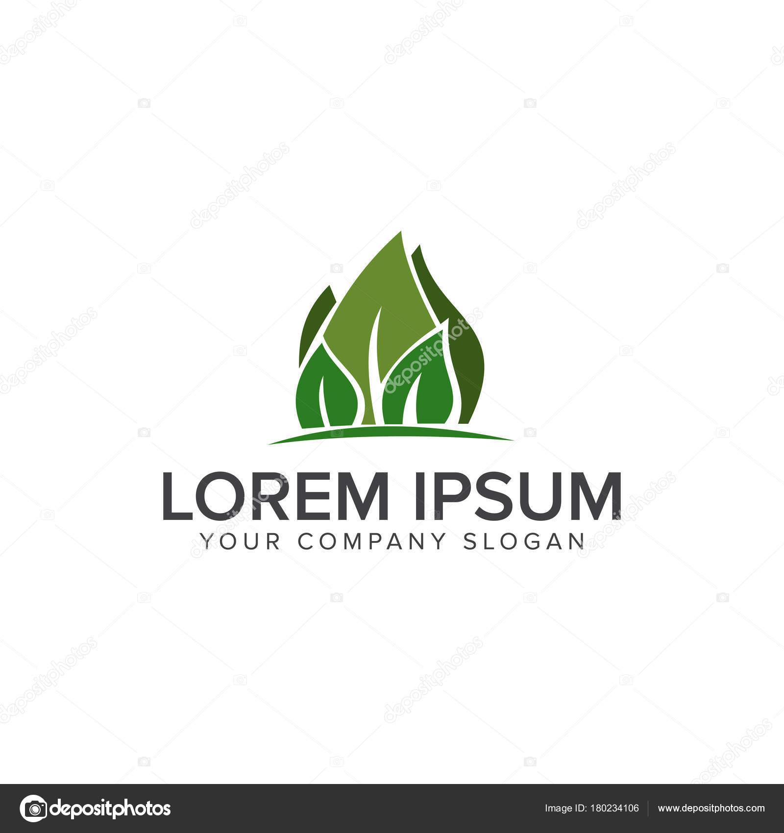 Landschaftsbau Blatt Garten Natur Logo Design Konzept Stockvektor