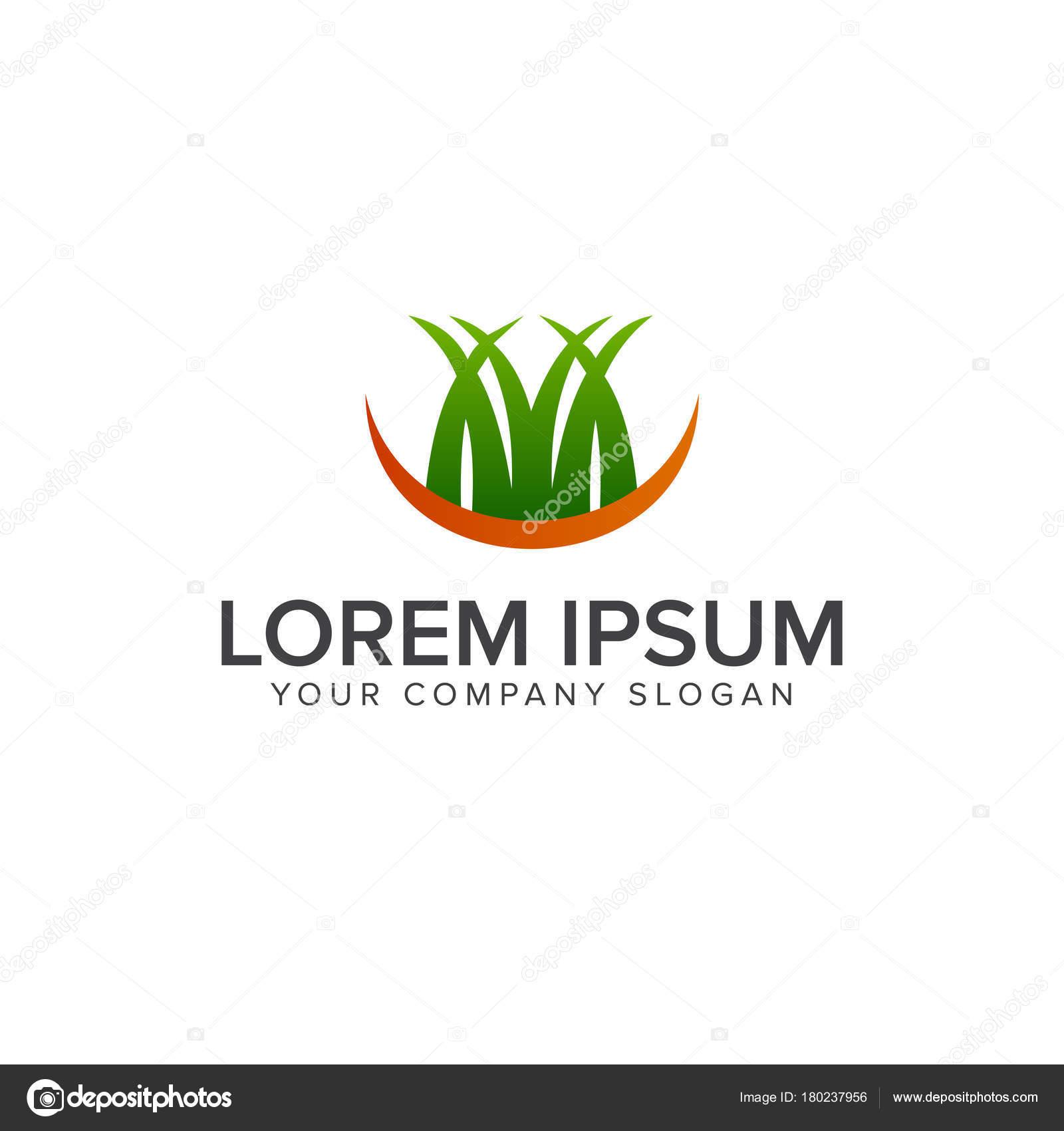 Rasen Logo Landschaftsbau Garten Logo Design Konzept Stockvektor