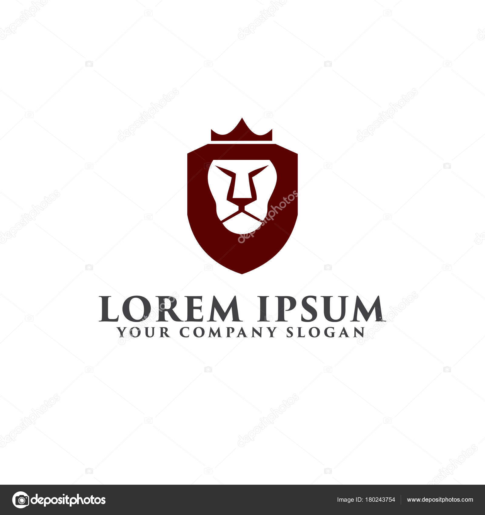 Lion Shield With Crown Logo Luxury Design Concept Stock Vector