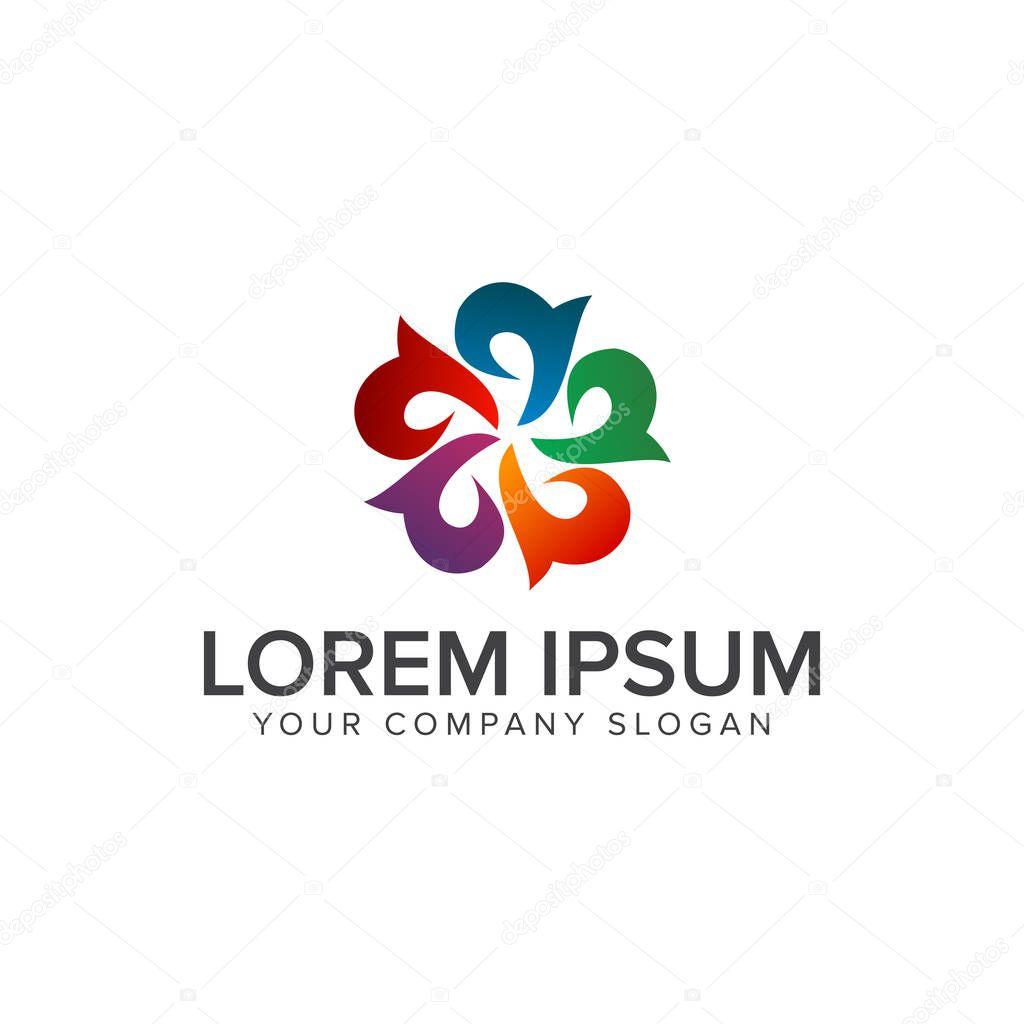 abstract flower multicolor logo design concept
