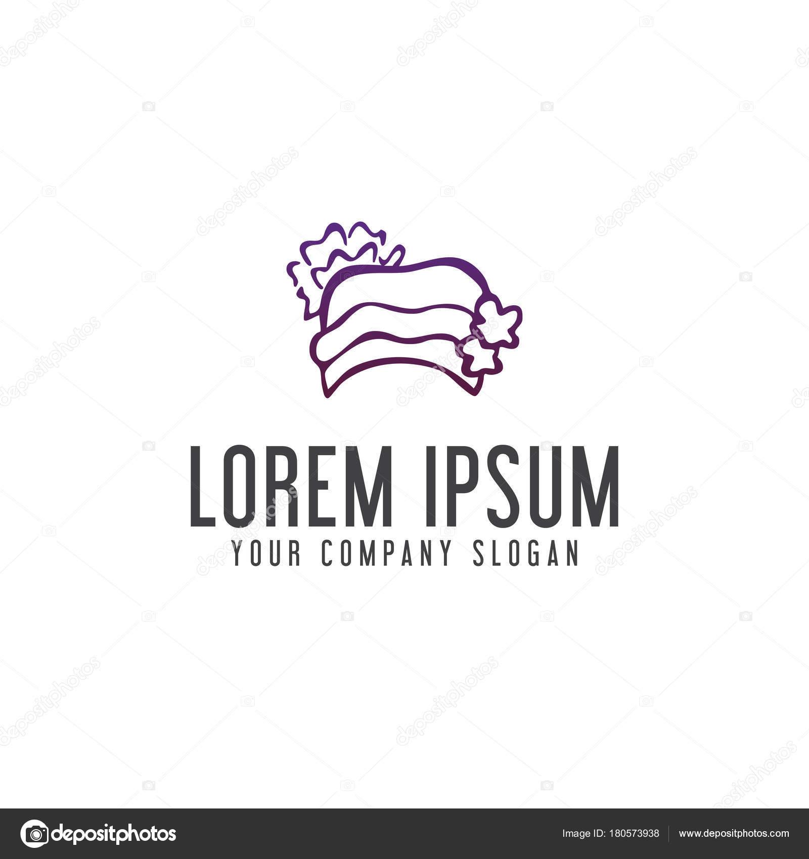 Hat Woman Logo Design Concept Template Stock Vector
