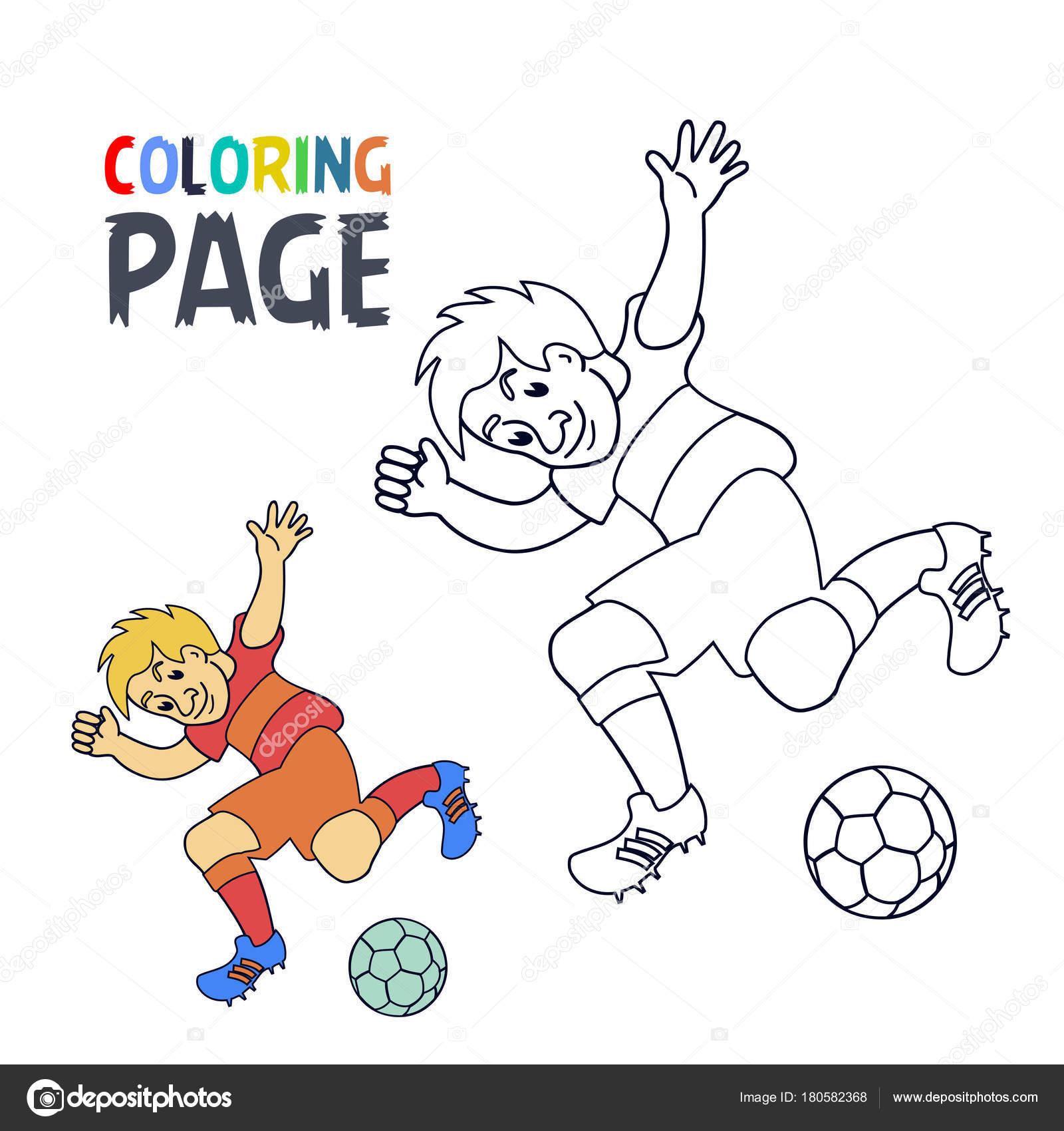 Página para colorear con dibujos animados de jugador de fútbol ...