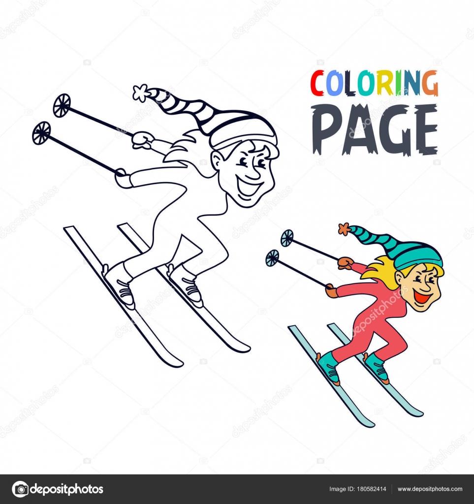 Kleurplaat Pagina Met Vrouwen Ijs Skien Speler Cartoon Stockvector