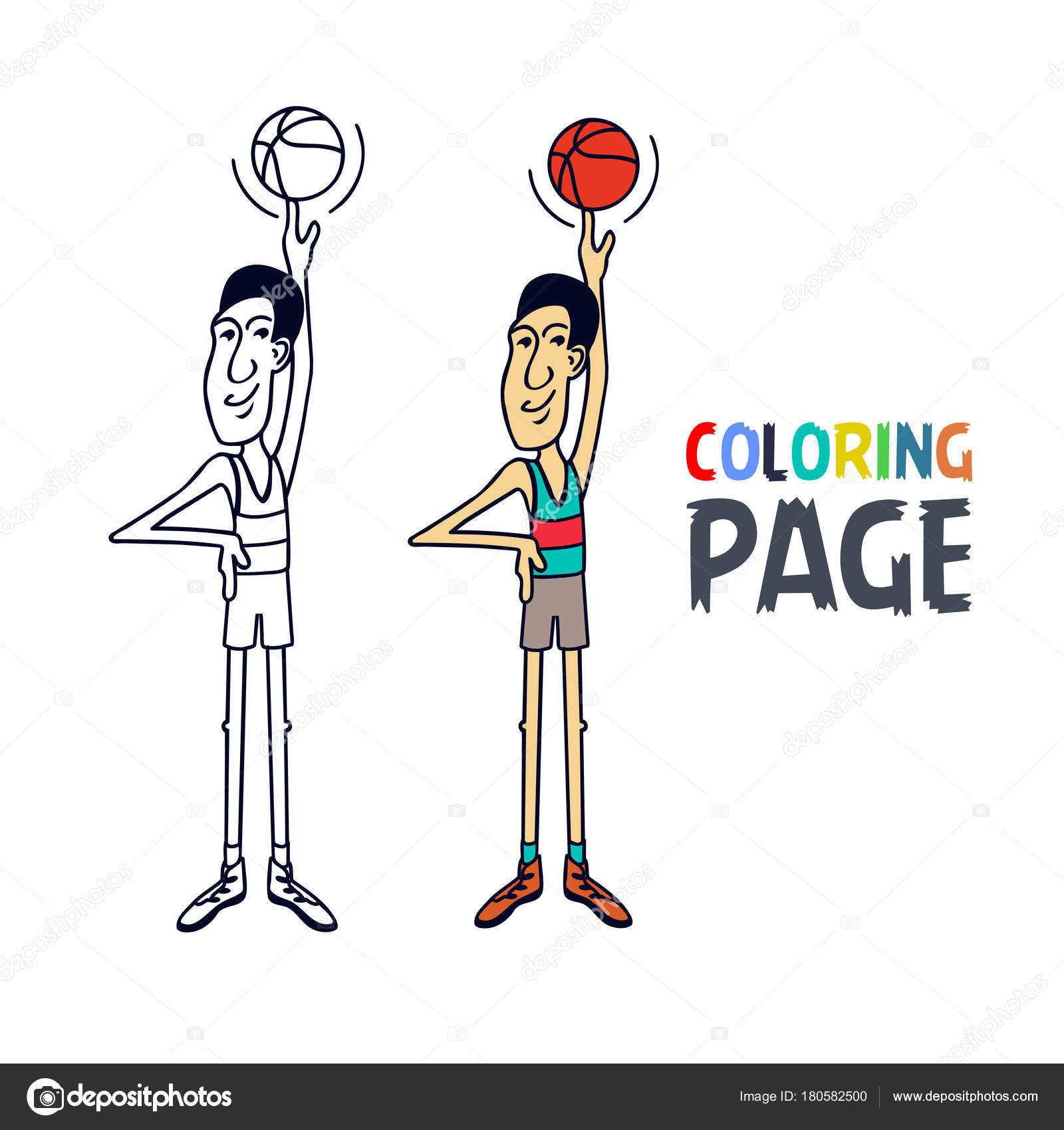 Página con dibujos de jugador de baloncesto para colorear — Vector ...