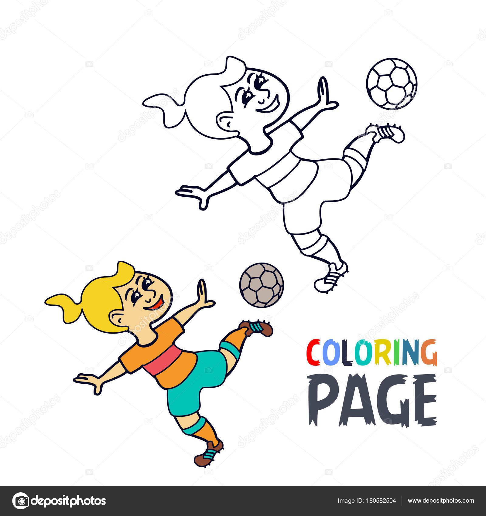 Página para colorear con dibujos de jugador de fútbol mujer ...