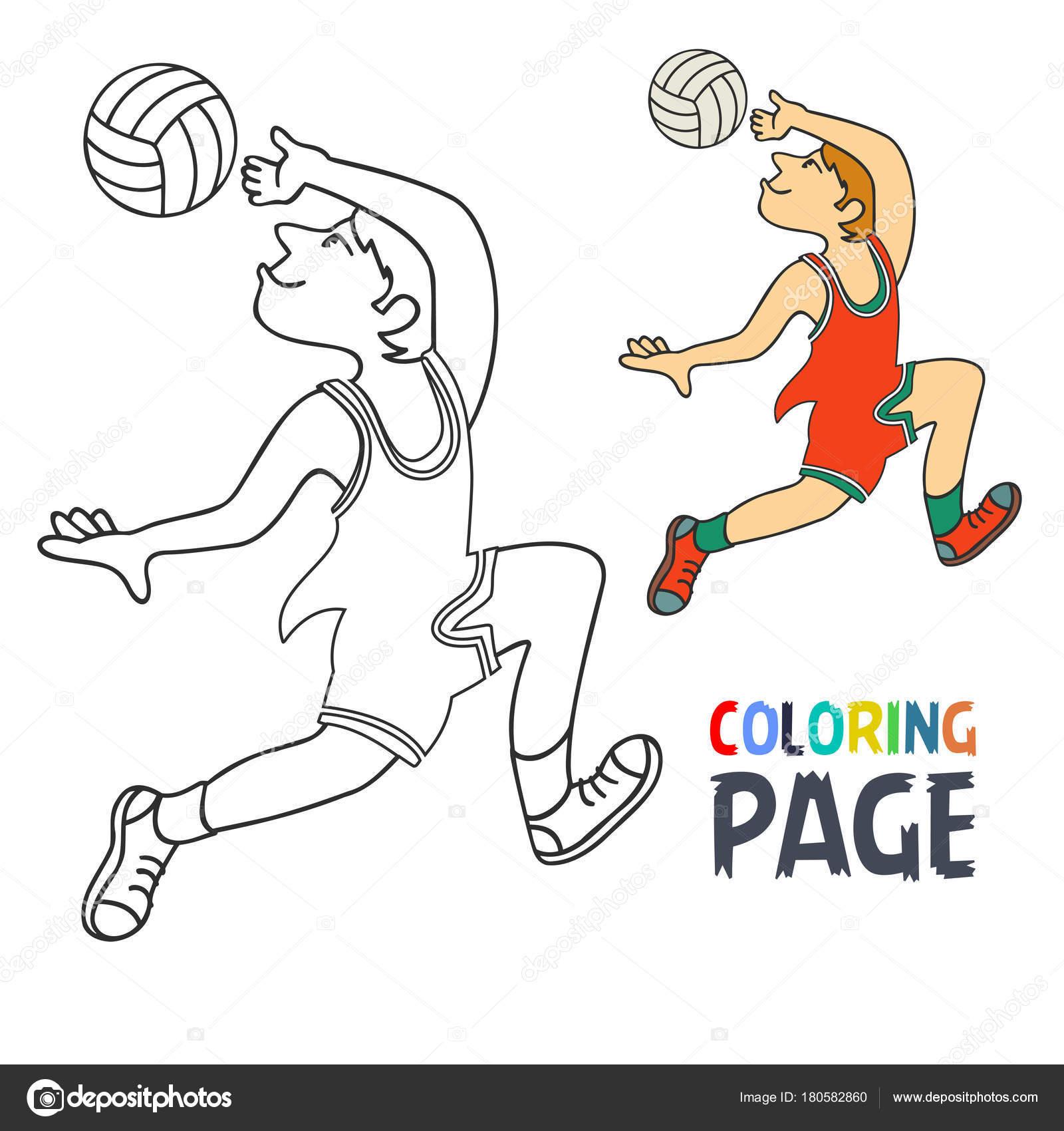 Pagina da colorare con il fumetto del giocatore di volley - Libero tacchino da colorare pagina ...