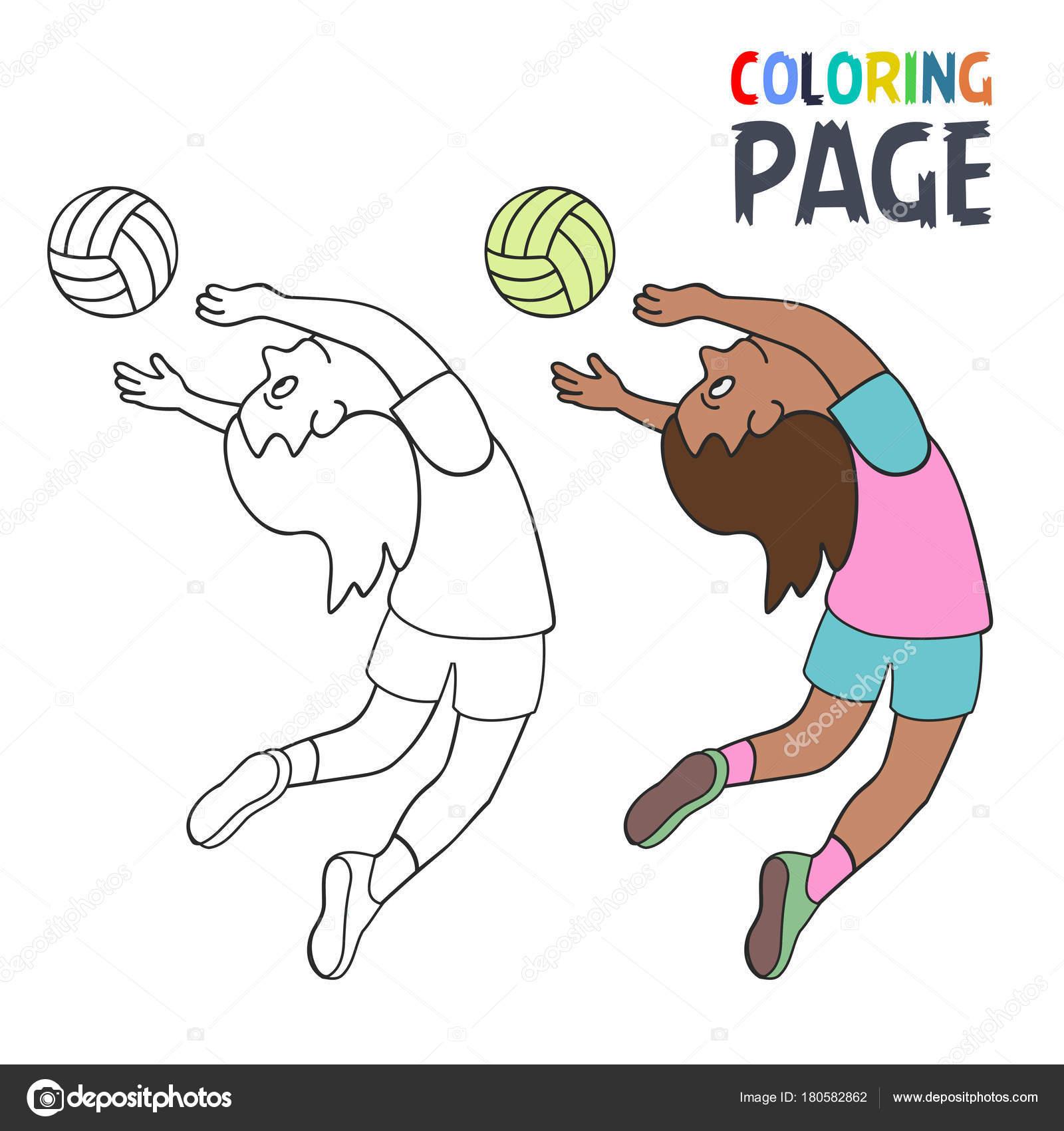Página con dibujos de animados de mujer volley ball player para ...