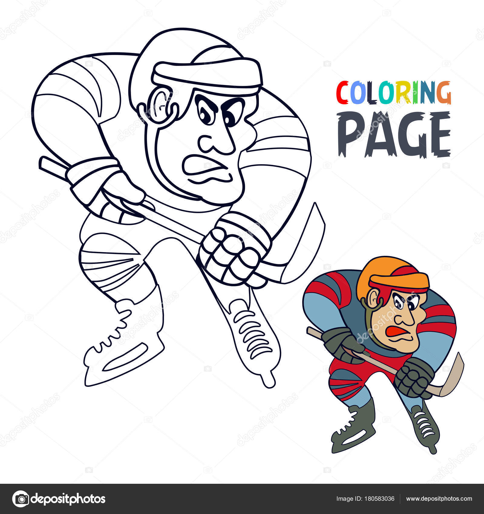 depositphotos stock illustration coloring page with hockey player