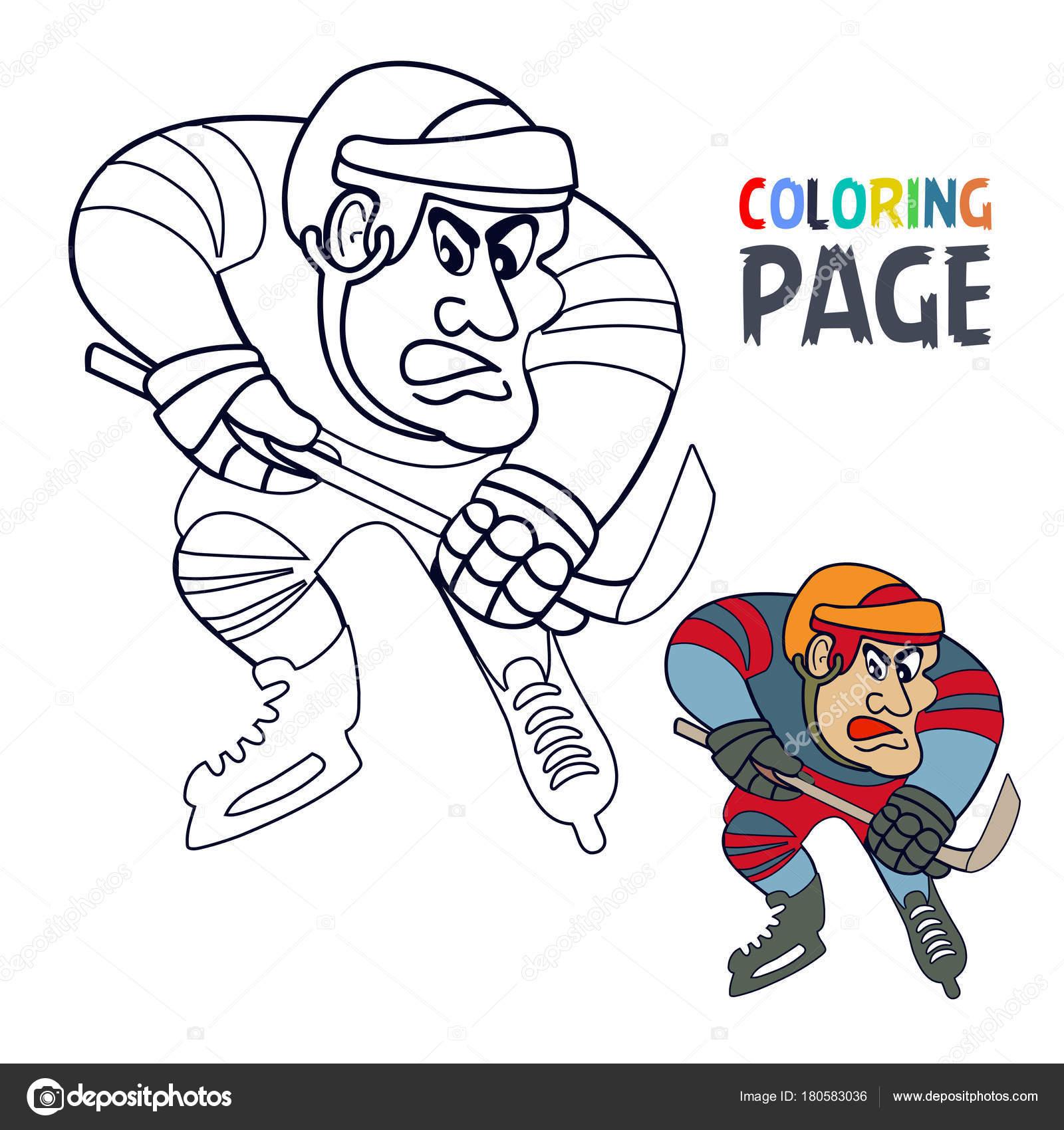 Kleurplaat Met Hockey Speler Cartoon Stockvector C Oriu007 180583036