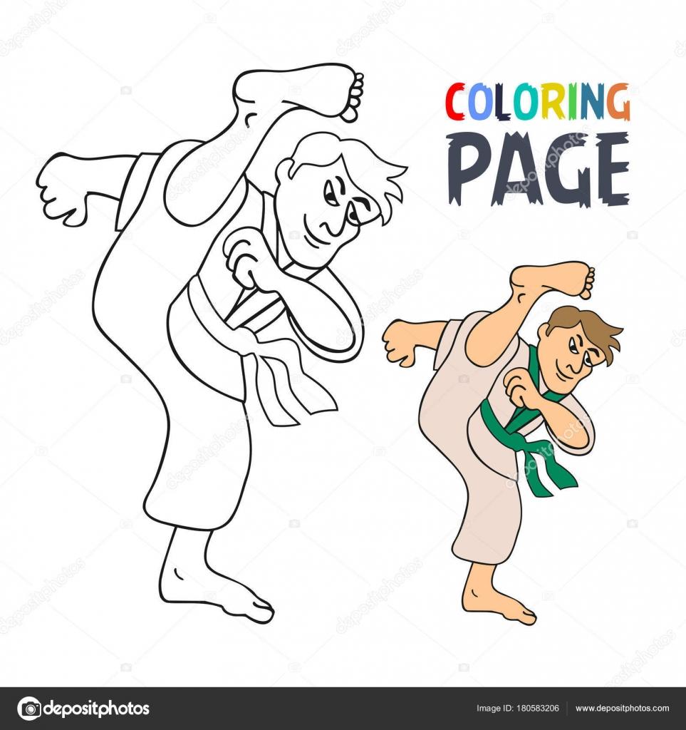 Página para colorear de karate arte marcial jugador de dibujos ...