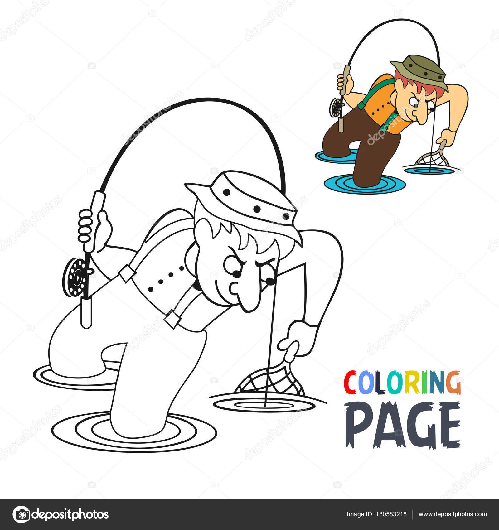 Página con dibujos de hombre de pesca para colorear — Vector de ...
