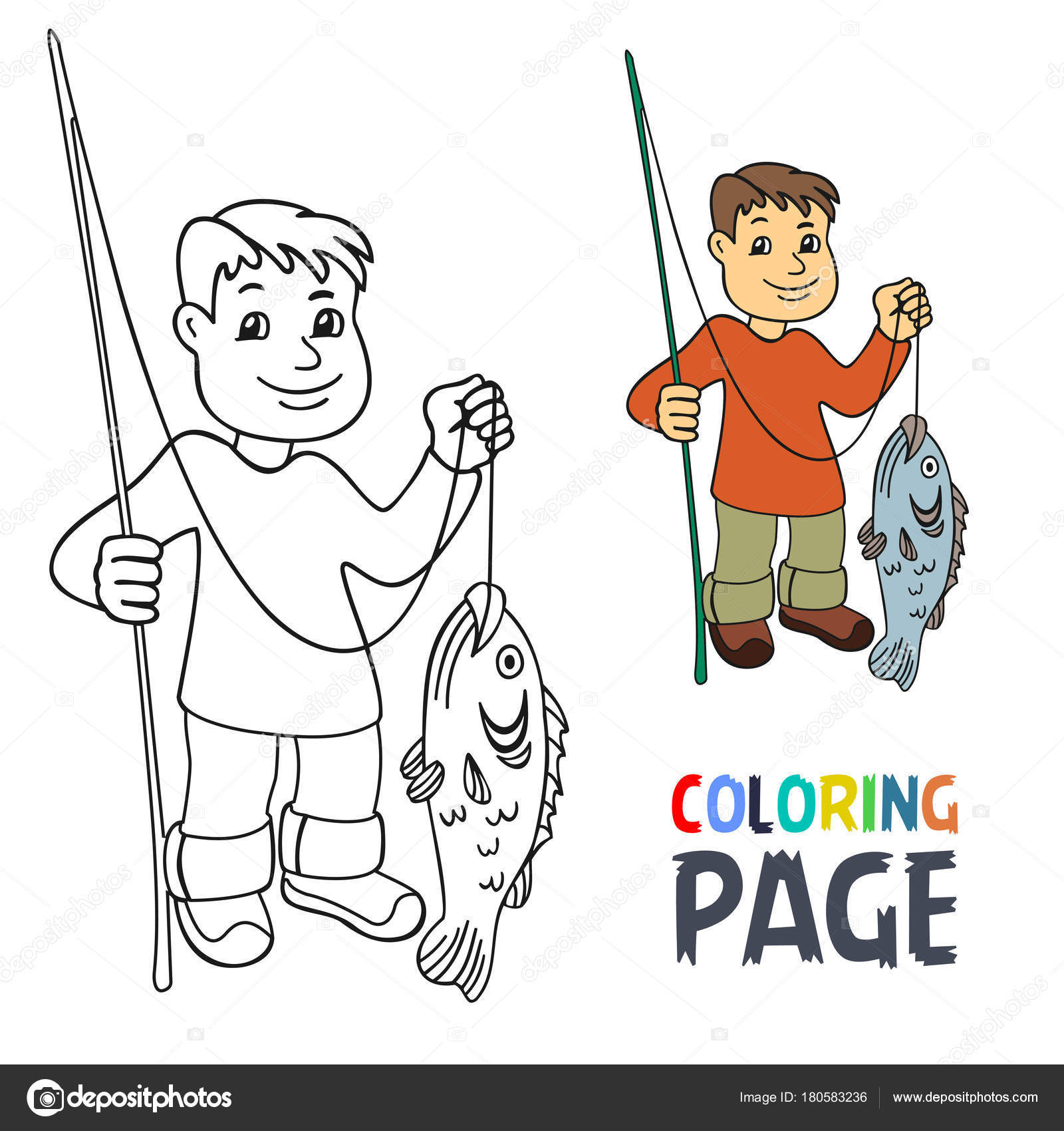 Página con gente pesca de dibujos animados para colorear — Vector de ...