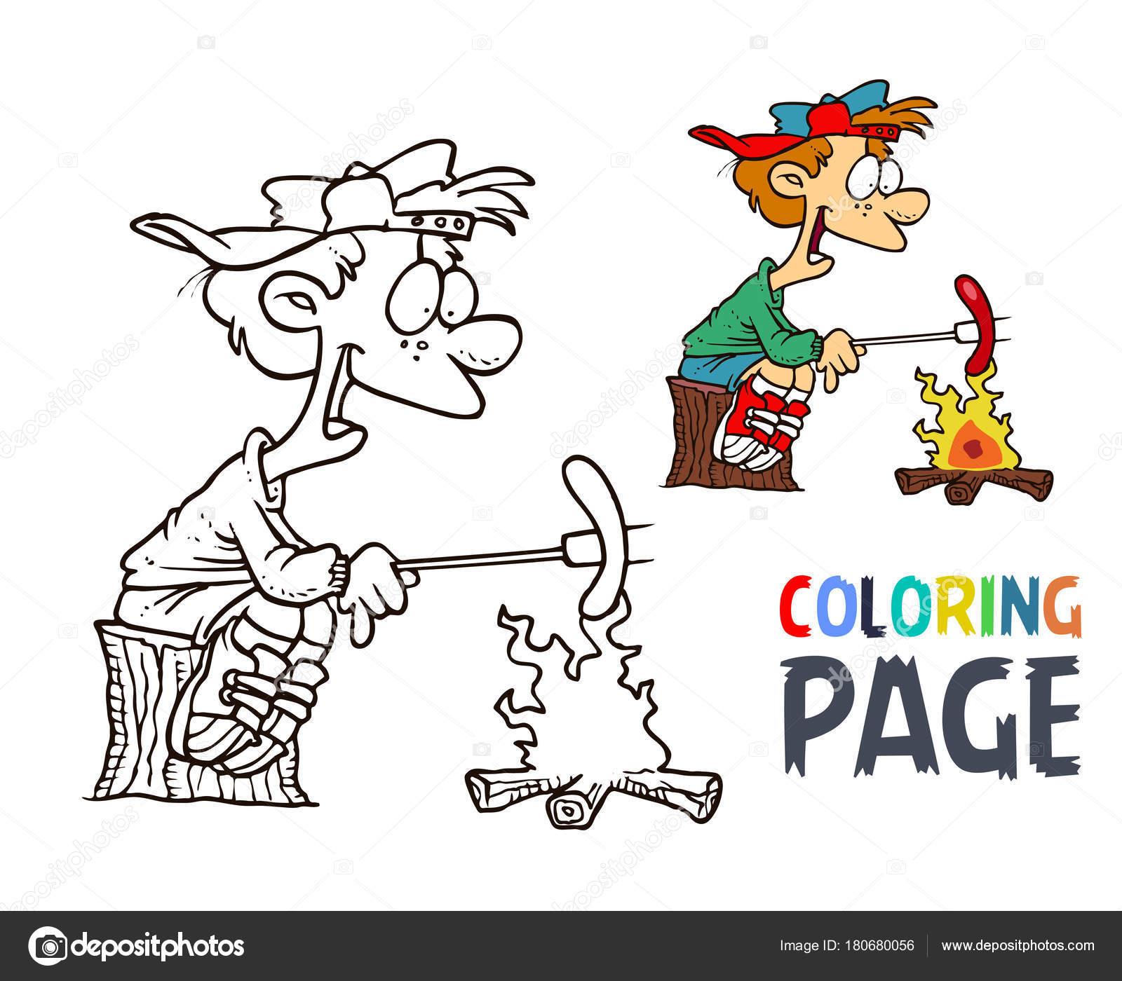 personas y perros calientes dibujos animados para colorear página ...