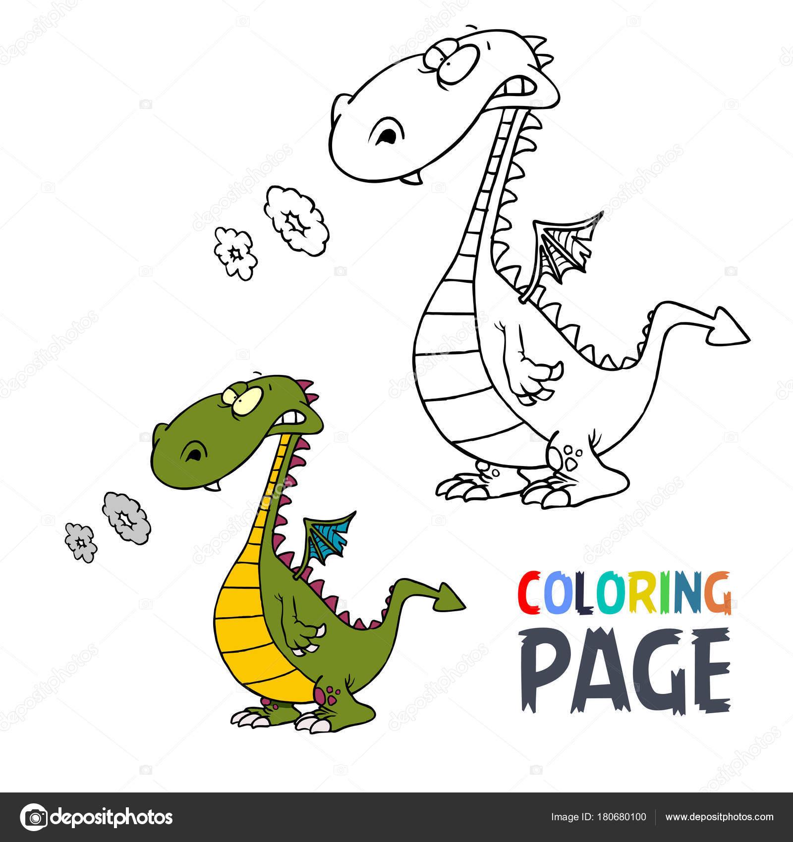 Malvorlagen Dinosaurier cartoon — Stockvektor © oriu007 #180680100
