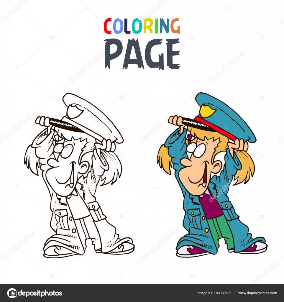 Küçük Kız Giyiyor Polis Kıyafetleri çizgi Film Boyama Sayfası Stok