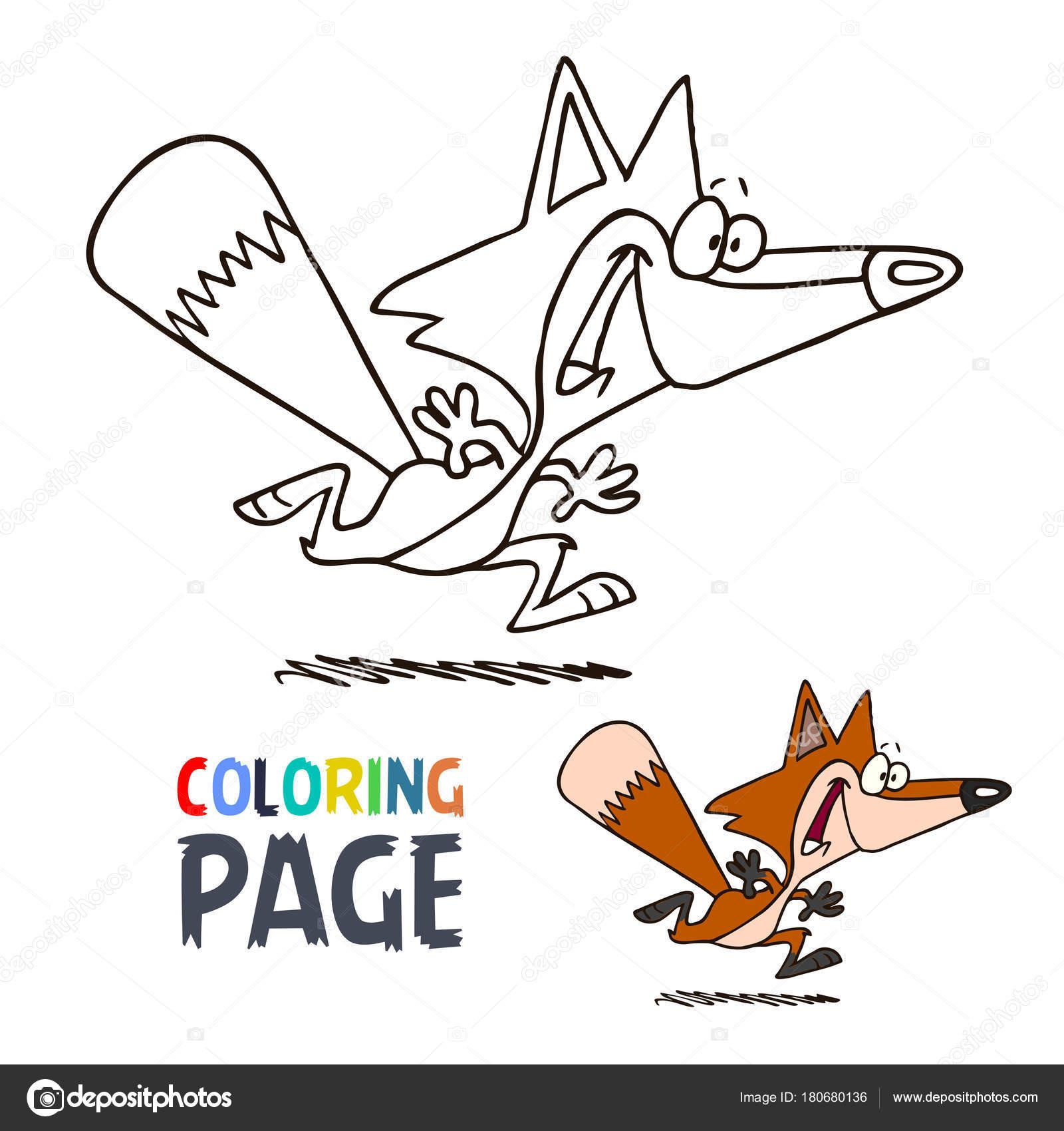 Página para colorear de dibujos animados sonrisa del zorro — Vector ...