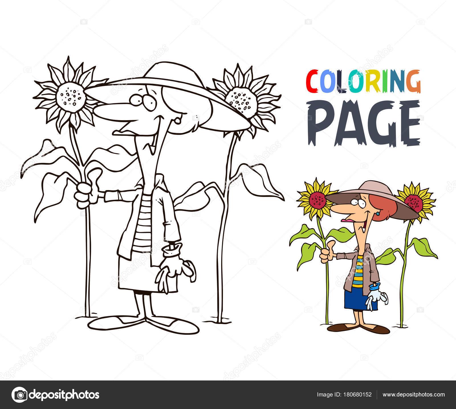 Kleurplaten Voor Oma.Oma En Zonnebloem Tekenfilm Kleurplaten Pagina Stockvector