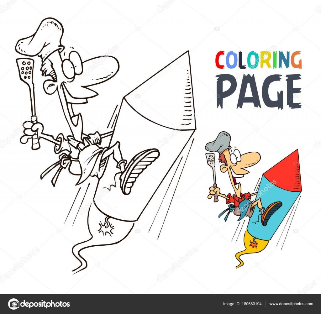 Koch und Rakete Cartoon Malvorlagen — Stockvektor © oriu007 #180680194