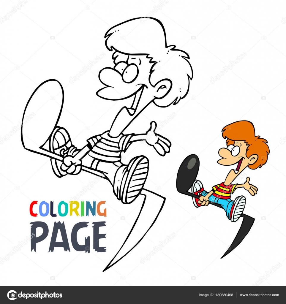 Müzik Sesi Ve çocuklar çizgi Film Sayfa Boyama Stok Vektör