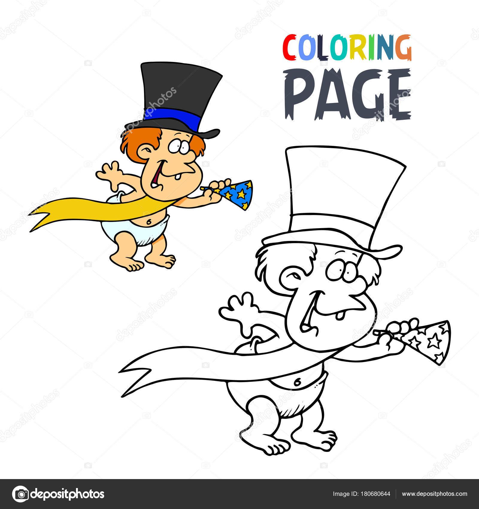 Baby En Trompet Tekenfilm Kleurplaten Pagina Stockvector