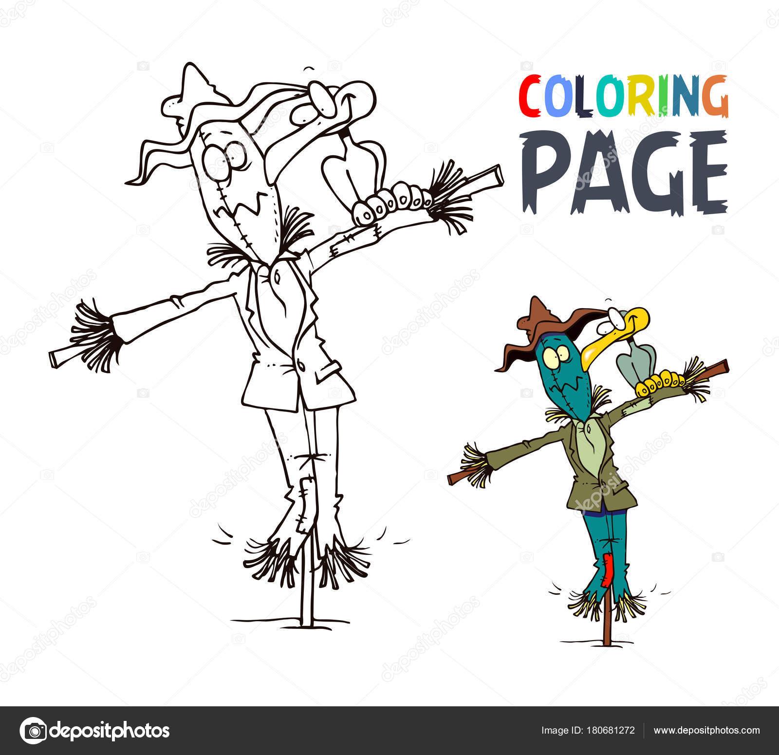 Vogelscheuche und Vogel-Cartoon Malvorlagen — Stockvektor © oriu007 ...