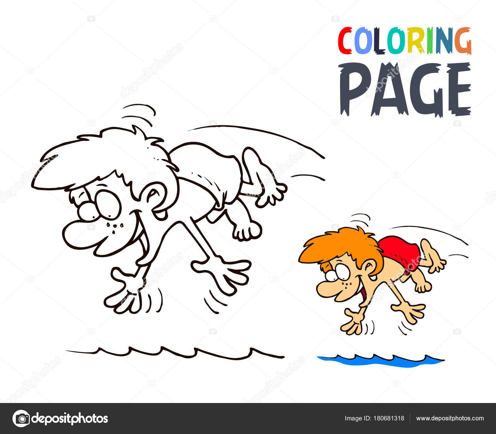 Junge, plantschen im Wasser Cartoon Malvorlagen — Stockvektor ...